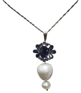 Vintage Iolite and Pearl Necklace