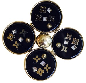 Louis Vuitton Black and Gold Inclusion Brooch