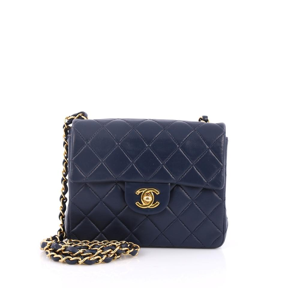 d4e16254017602 Chanel Classic Flap Vintage Square Classic Single Quilted Lambskin Navy  Leather Shoulder Bag