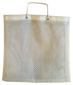 Anthropologie Gold Woven Sheer Tote in Tan