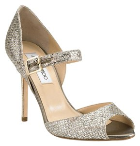 Jimmy Choo Cocktail Metallic Sparkle Adjustable Strap Peep Toe Champagne Silver Sandals