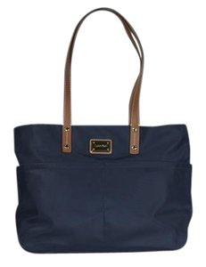 Calvin Klein Nylon Leather Tote in Navy