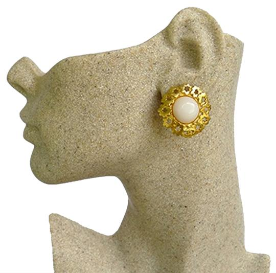 Chanel Authentic Chanel White Glass and Gold Plated Flower CC Clip Earrings