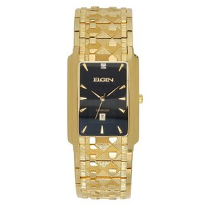 ELGIN Elgin Mens Gold-Tone & Diamond-Accent Rectangular Watch FG8014