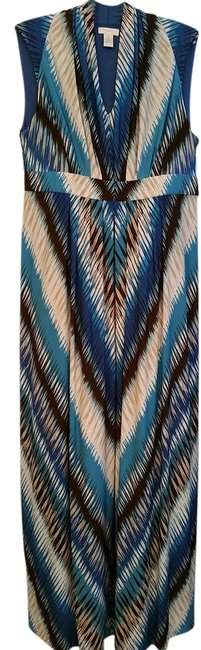 Item - Blue Brown White Tan In And Long Casual Maxi Dress Size 10 (M)
