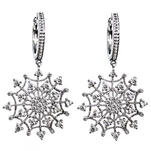 ABC Jewelry 3/4ct diamond snowflake dangle earrings