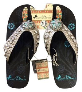 Montana West Studded Bling Wedge Cross Etched Sandals