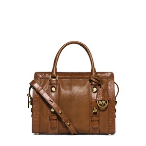 Michael Kors Collins Stud Medium Goat Leather Satchel in Walnut / Gold