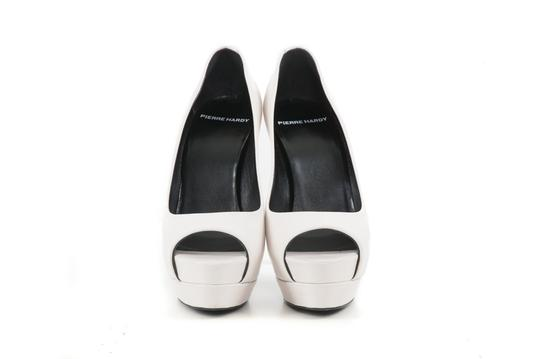 Pierre Hardy Leather Peep White Pumps