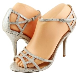 Badgley Mischka Kerrington Silver Suede Designer Evening Sandals Pumps Antique Silver Platforms
