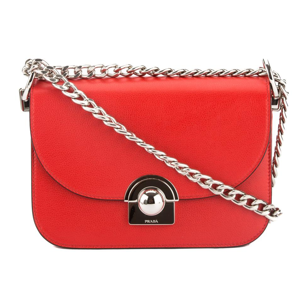 edec45a6ce Prada Arcade Lacquer Leather New With Red Calfskin Shoulder Bag ...