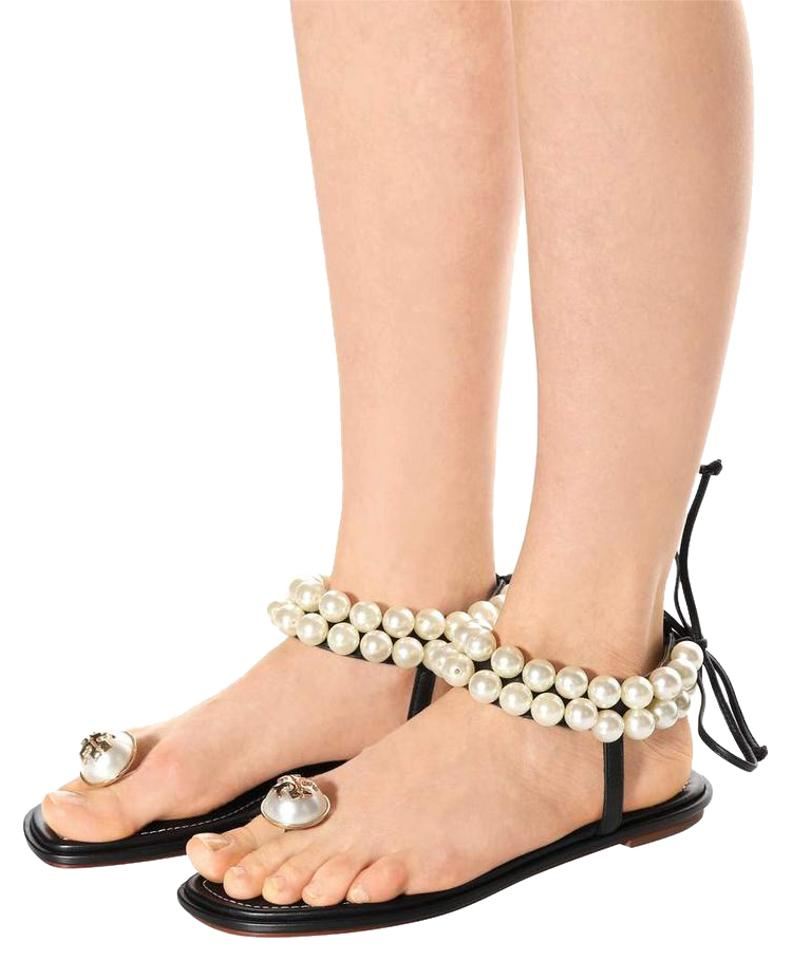 0ebccceb44ff Tory Burch Black White Leather Melody Logo Pearl Embellished Sandals. Size   US 6 ...