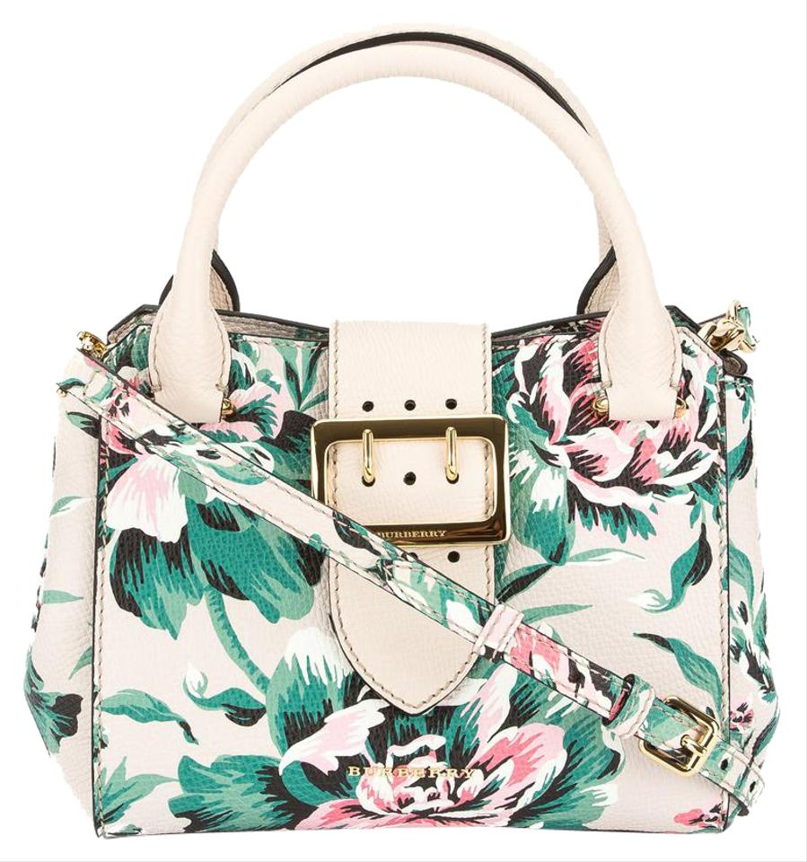 Burberry natural and emerald green peony rose print small for Natural multi colored roses