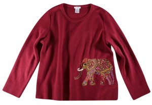 Oscar de la Renta Cashmere Beaded Elephant Sweater