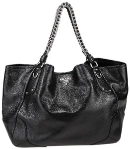 Prada Cervo Deerskin Leather Black Chain Tote