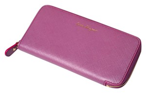 Salvatore Ferragamo Sleek Zip Around Plum Wallet