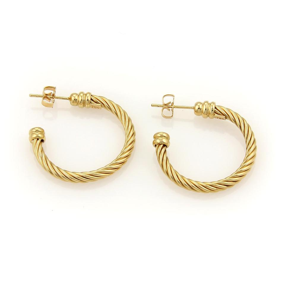Charriol Yellow Gold 16114 Twisted Wire Design 18k Hoop Earrings ...