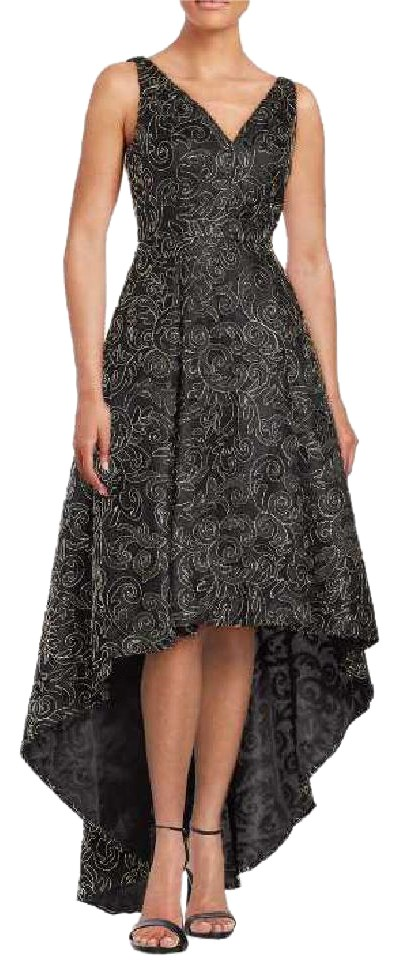 Calvin Klein Black Embroidered Gold Metallic Hi Lo Gown Long Formal ...
