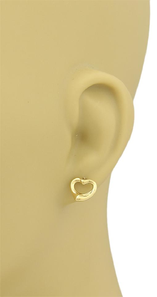 Tiffany Co 16447 Elsa Peretti 18k Yellow Gold Open Heart Stud Earrings
