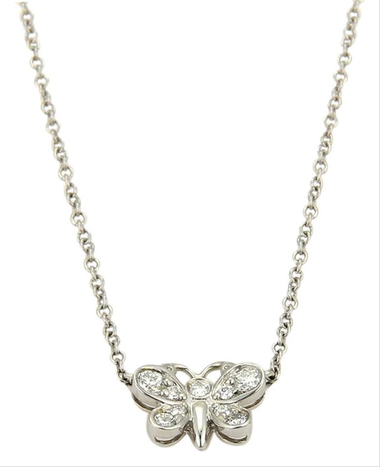 5058f315b Tiffany & Co. Enchant Diamonds Platinum Butterfly Pendant Necklace Image 0  ...