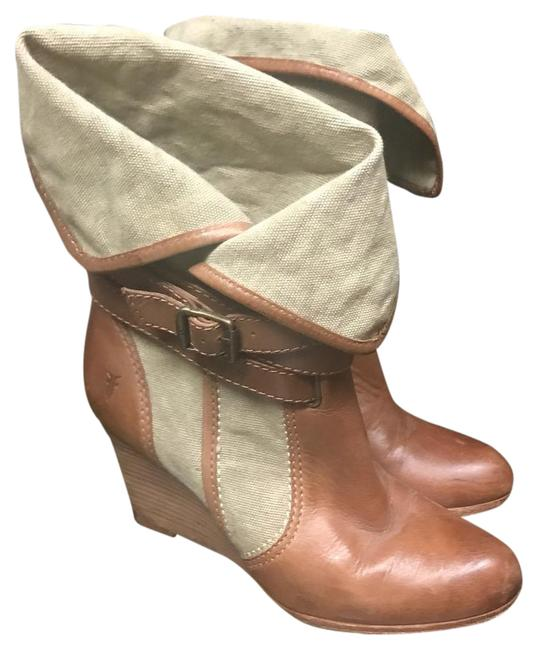 Item - Tan and Brown/Khaki Wedges Boots/Booties Size US 7.5 Regular (M, B)