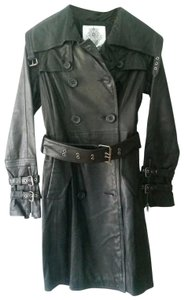 BB Dakota Buckles Zippers Leather Rare Trench Coat