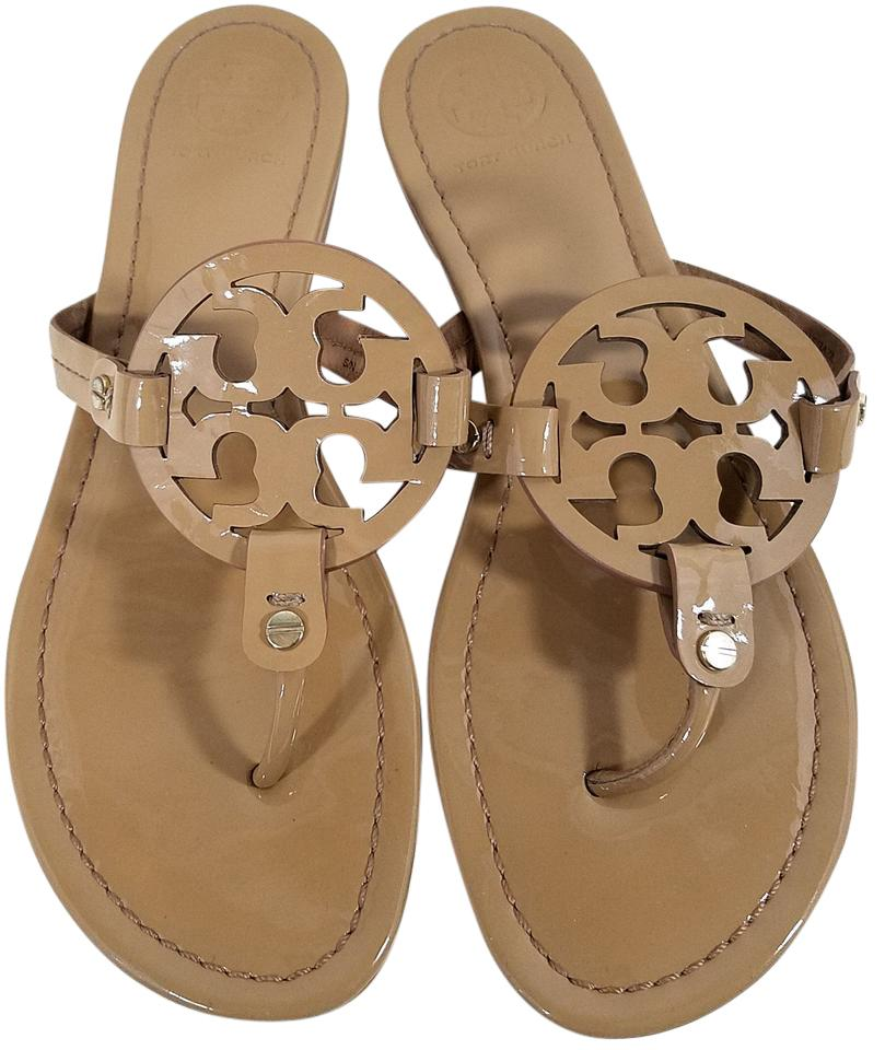 f20edeb6f9c Tory Burch Flip Flops Bold Logo Cutout Leather Nude Patent Sandals Image 0  ...