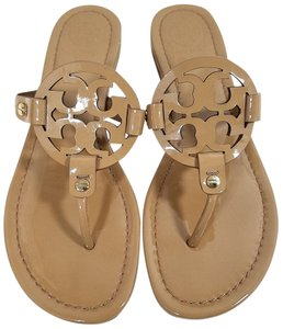 625170eb89a9 Tory Burch Flip Flops Bold Logo Cutout Leather Nude Patent Sandals