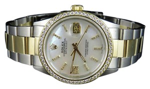 Rolex Datejust Two Tone 18K Gold 36MM Steel Oyster 16013 Diamond Watch 3.0Ct