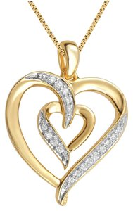 Jewelry Unlimited Yellow Gold Plated Dual Heart Pendant Necklace with Natural Diamonds