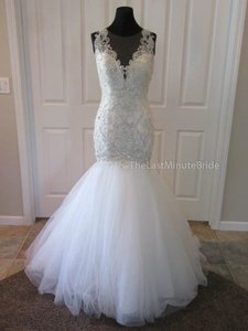 Allure Bridals Ivory/Nude/Silver Tulle C402 Formal Wedding Dress Size 10 (M)