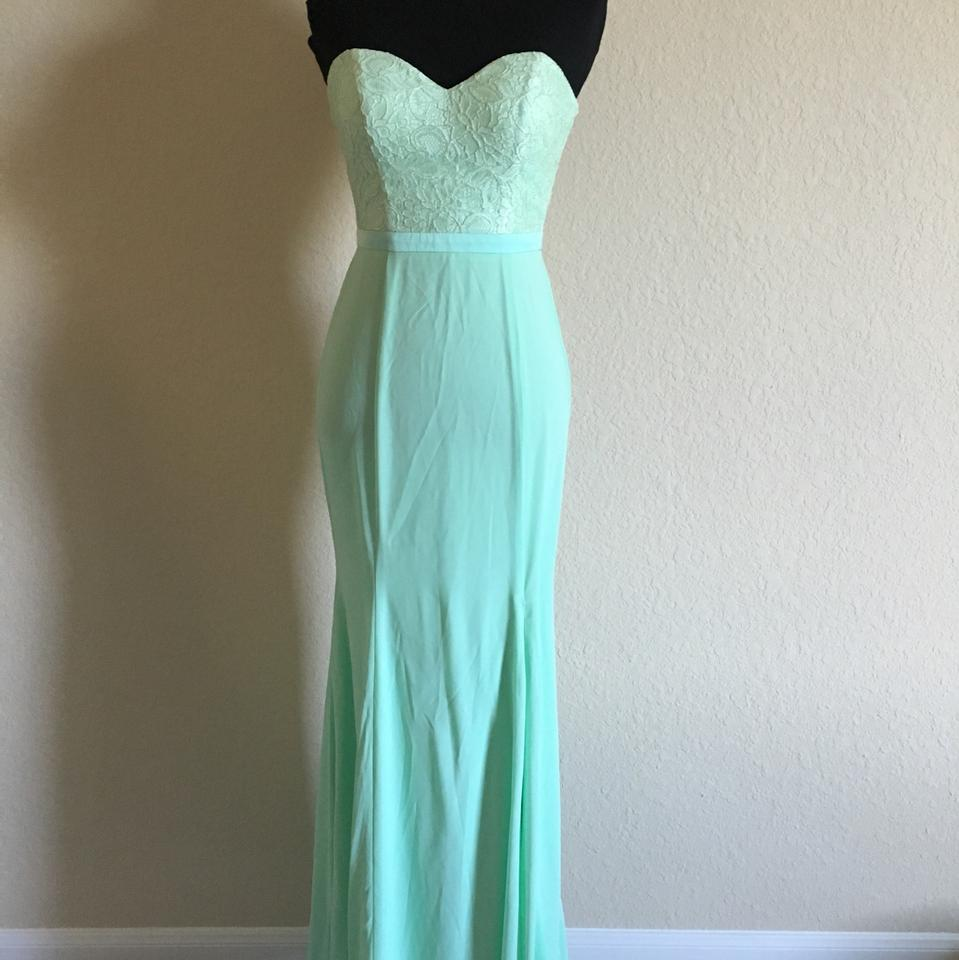 Light Green Lace Strapless Formal Bridesmaid/Mob Dress Size 0 (XS ...