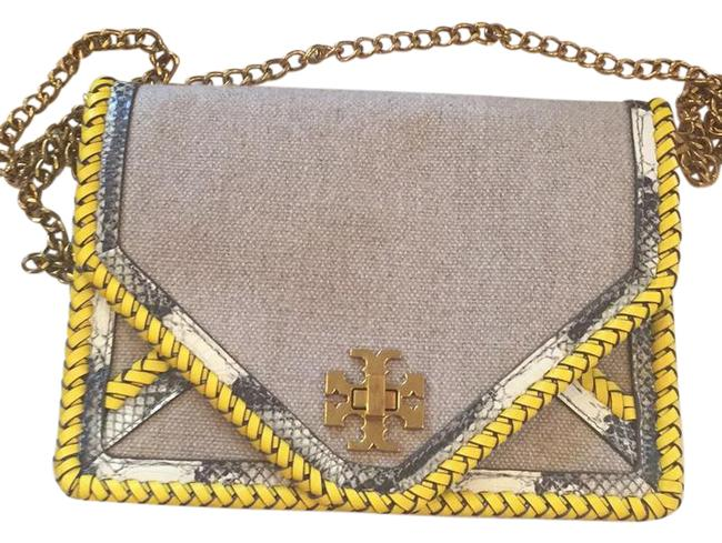 Item - Braided Natural / Yellow / Snake Canvas Cross Body Bag
