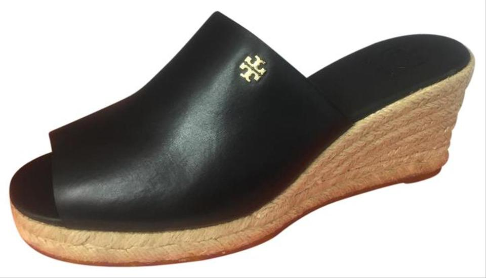 63ef34b81c686 Tory Burch Black New Box Slip On Logo Leather Mules Espadrilles Wedge  Sandals