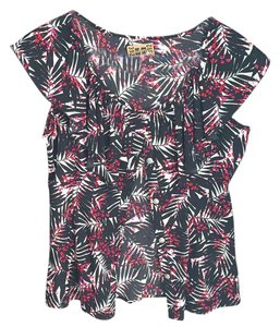 Banana Republic Top black with red white pink floral print