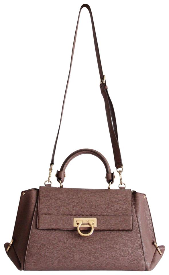 1ff3a158d00f Salvatore Ferragamo Sofia Medium Mocha Brown Leather Satchel - Tradesy
