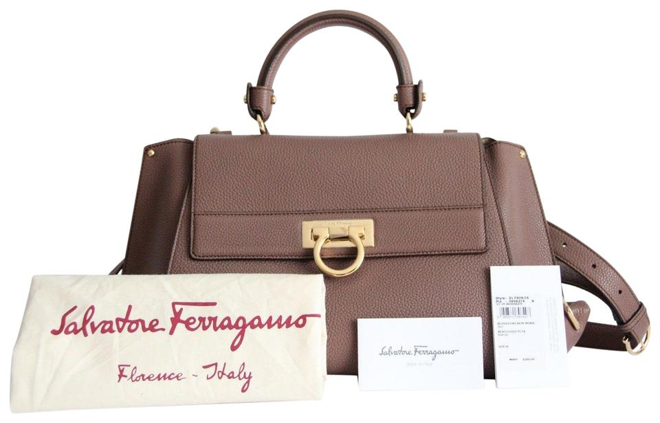 e25738570742 Salvatore Ferragamo Sofia Leather Satchel in Mocha Brown Image 11.  123456789101112