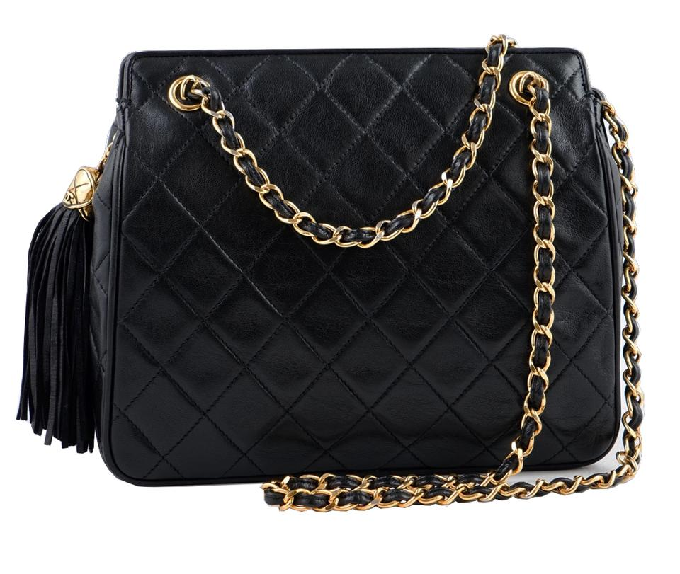 c96e4230de63 Chanel Timeless Tote Chain Tassel Small Quilted Black Lambskin Leather  Shoulder Bag