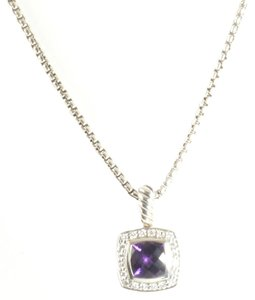 David Yurman DAVID YURMAN 7MM STERLING SILVER PETITE ALBION DIAMOND & AMETHYST NEKCLACE