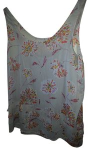 Old Navy Soft Airy Fabric Beach Top Light Gray/Cream/Tan with floral abstract in orange, pink, gold and brown