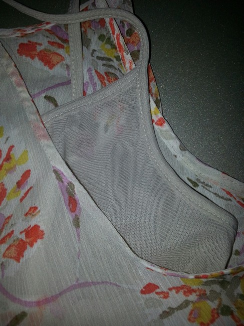 Old Navy Soft Airy Fabric Beach Womens Summer Spring Top Light Gray/Cream/Tan with floral abstract in orange, pink, gold and brown