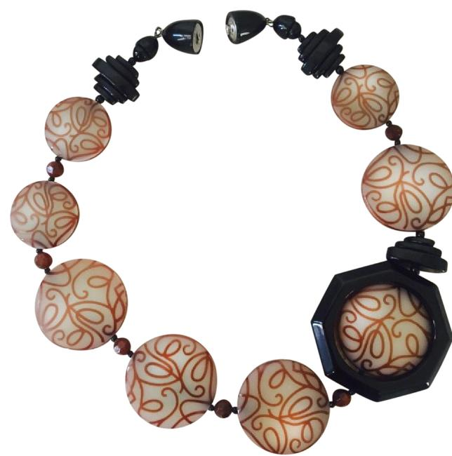 """Item - Black Tan and Rust 20"""" Necklace"""