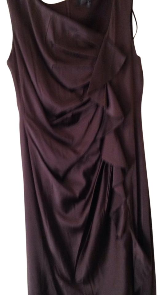 Saks Fifth Avenue Wine Mid-length Cocktail Dress Size Petite 6 (S ...