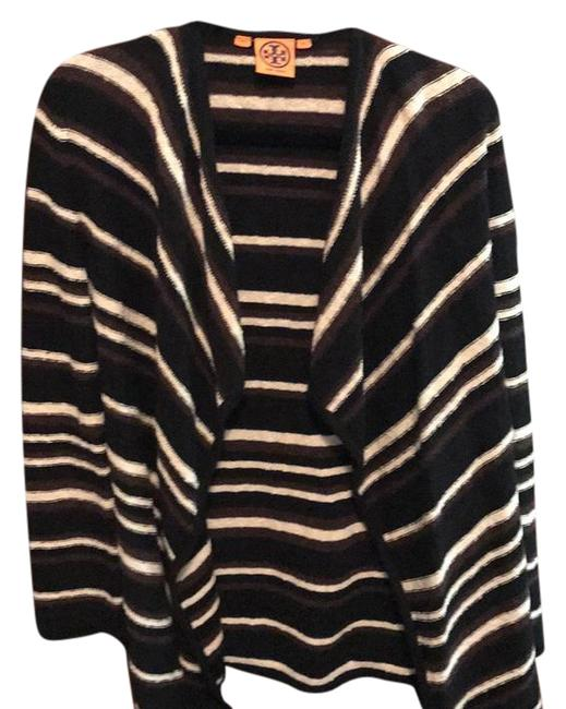 Preload https://img-static.tradesy.com/item/21659779/tory-burch-brown-black-and-cream-stripes-cardigan-size-2-xs-0-1-650-650.jpg
