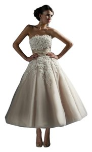 Justin Alexander Coffee/Ivory Silk and Tulle 8465 Traditional Wedding Dress Size 14 (L)