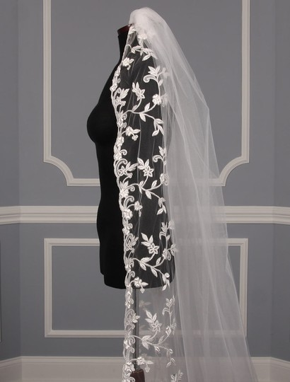 St. Pucchi Diamond White and Silver Long M9341 Bridal Veil Image 3