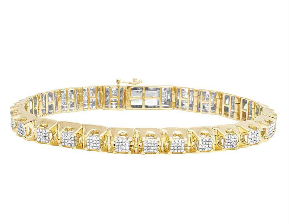 f462e085c4f0c Jewelry Unlimited Yellow Gold 10k Men's Square Cluster Real Diamond 1/2 Ct  Bracelet 71% off retail