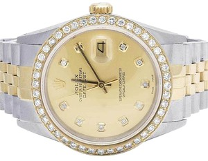 Rolex Mens 18K/ Steel Datejust 36MM 16013 Champagne Dial Diamond 2.5 Ct
