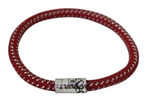 John Hardy JOHN HARDY MEN'S DAYAK STERLING SILVER SINGLE STATION BRACELET ON RED NYLON CORD