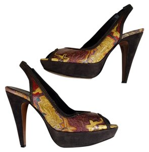 Missoni Zig Zag Suede Slingbacks Brown Platforms